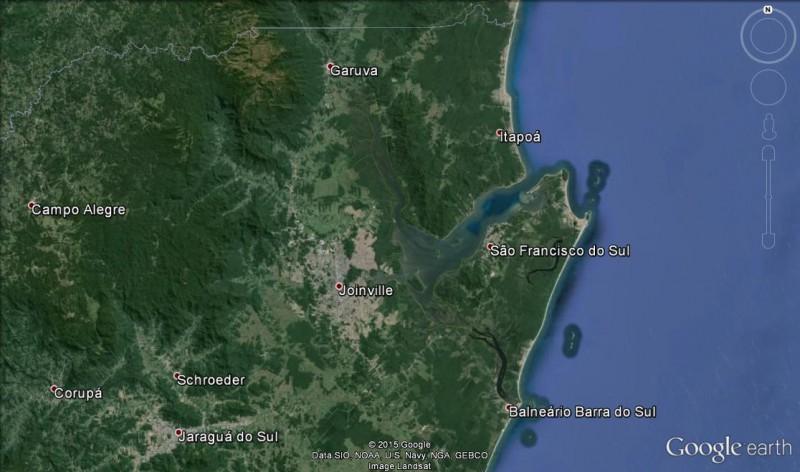 Mapa mostrando os entornos de Joinville