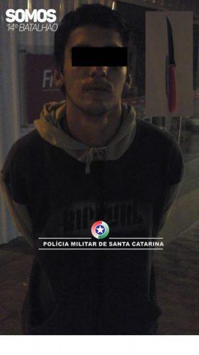 Detido tem diversas passagens criminais, segundo a PM | Foto: 14º BPM/Divulgação