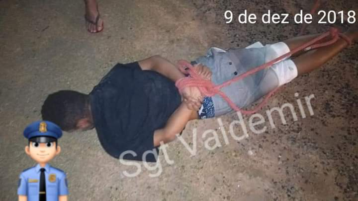População entregou suspeito com pés e mãos amarradas à Polícia Militar   Foto Valdemir Schmidt/Divulgação