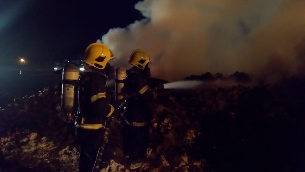 Incêndio foi no km 58 da BR-101 próximo ao cruzamento com a BR-280, em Araquari | Fotos Corpo de Bombeiros Militar de Santa Catarina Divulgação