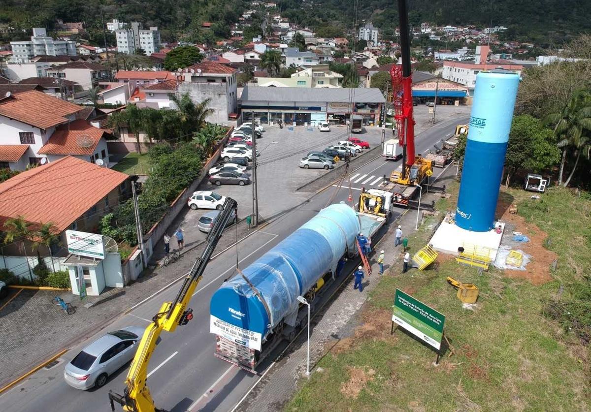 Os dois reservatórios tem capacidade total para 200 mil litros de água   Foto Divulgação/Samae Jaraguá do Sul