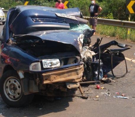 Acidente ocorreu na SC-135, no Oeste catarinense | Foto: PMRv/Divulgação