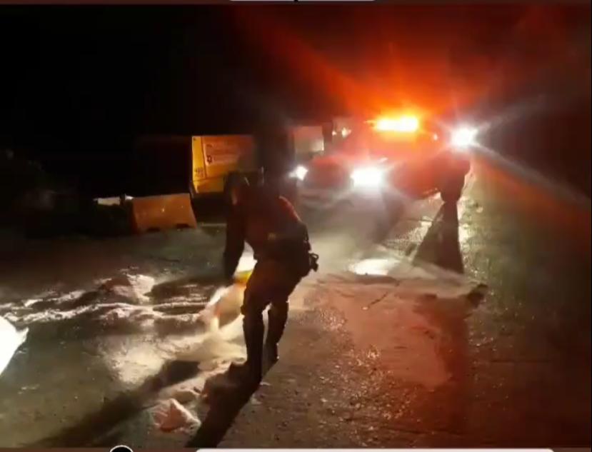 Com queda nas temperaturas, Serra do Rio do Rastro registra ponto de pista congelada